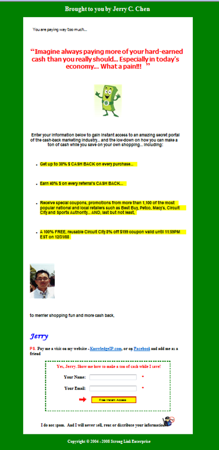 online mlm secrets ugly capture page